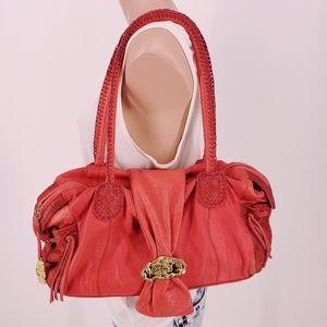 Carlos Falchi Chi Red Leather Snakeskin Handbag